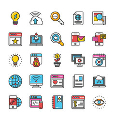 digital and internet marketing icons set 7 vector image vector image