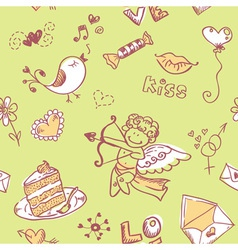 Doodle Valentines day lovely seamless texture vector image
