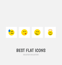 Flat icon emoji set of winking tears delicious vector