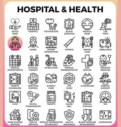hospital and health concept icons vector image
