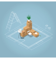 Isometric room under construction vector image vector image