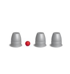 Magic three cups game set 3d vector