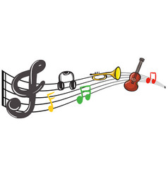 musical instruments with music notes in background vector image vector image