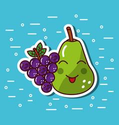 pear and grape fruit kawaii cartoon funny vector image