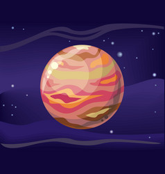 Planet jupiter in space background vector