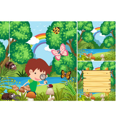 Scenes with kids in the forest vector