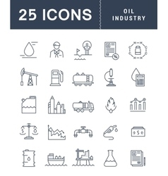 Set Flat Line Icons Oil Industry vector image vector image