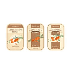 Set of labels for seabuckthorn seed oil vector