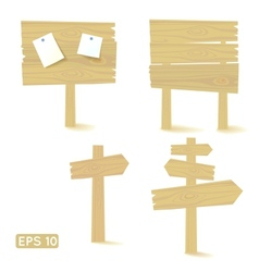 Set of light wooden signs and billboards vector image vector image