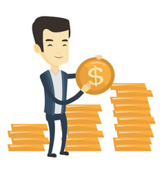Successful business man with dollar coin vector