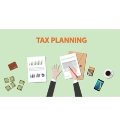 Tax planning with businessman hand on paper vector