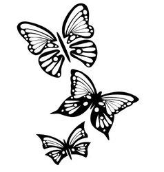 Three butterflies vector