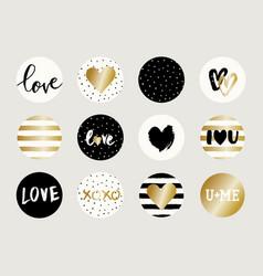 Valentine39s day sticker designs vector