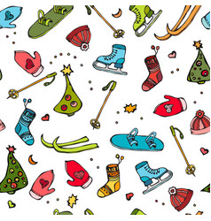 Winter seamless pattern of sport equipment - hat vector