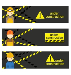 Worker Craftsman with Under Construction Banner vector image vector image