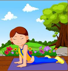 young girl doing yoga vector image vector image