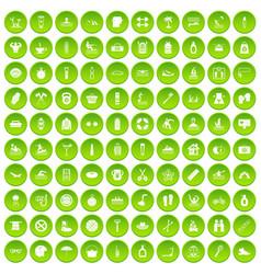 100 human health icons set green circle vector
