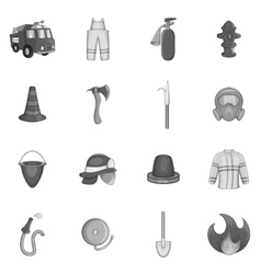 Firefighting icons set black monochrome style vector