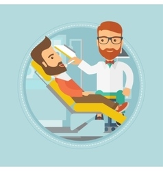 Patient on reception at the dentist vector