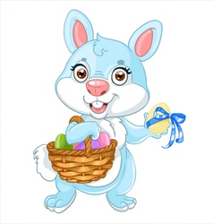 Cute easter bunny with basket of eggs vector
