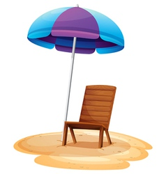 A stripe beach umbrella and a wooden chair vector
