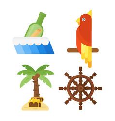 Treasures pirate adventures toy accessories icons vector