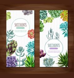 Succulent plants vertical banners vector