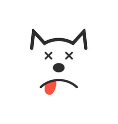 Simple dead dog icon vector