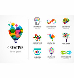 Creative digital abstract colorful logos vector