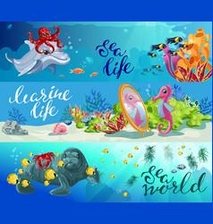 cartoon colorful sea animals horizontal banners vector image