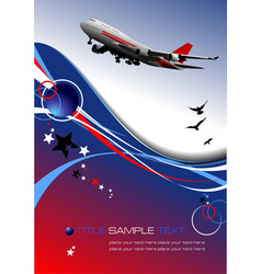 aircraft poster with passenger airplane image vector image