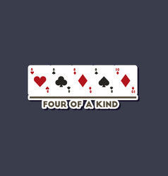 paper sticker on stylish background poker four of vector image