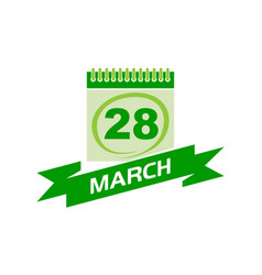 28 march calendar with ribbon vector