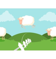 Tileable sheep jumping over the fence vector image