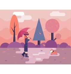 Autumn walk with dog puddles umbrella nature park vector