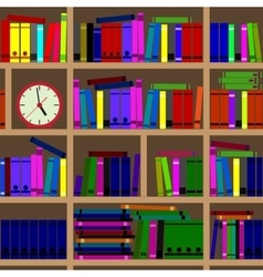 Shelves filled with books vector