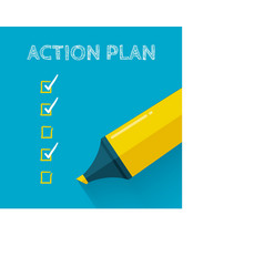Action plan concept design with yellow pencil or vector