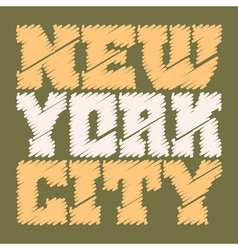 T shirt typography graphics new york drawn green vector