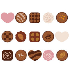 a set of assorted chocolate icons vector image vector image
