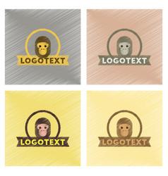 Assembly flat shading style icons monkey logo vector