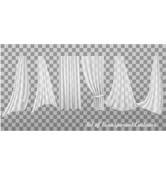 Big collection of transparent curtains vector