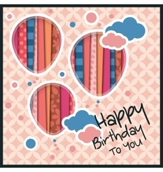 Birthday card in the style of cutouts with vector image vector image
