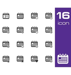 Black calendar icons on white background vector
