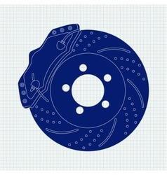 Brake disc on notebook sheet vector