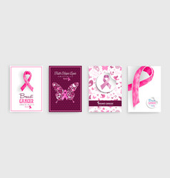 Breast cancer awareness pink ribbon poster set vector