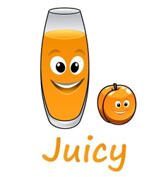 Cartoon peach or apricot with juice vector image