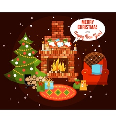 Christmas holiday fireplace vector