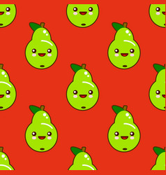 cute seamless pattern with smiley green pears in vector image vector image