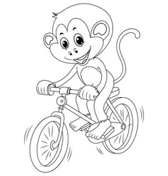 drafting animal for monkey riding bike vector image vector image