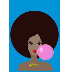 funky girl and bubble gum vector image vector image